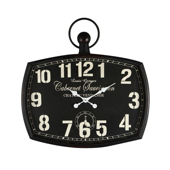 "Vintage-Inspired Pocket ""Cabernet Sauvignon"" Wall Hanging Clock"