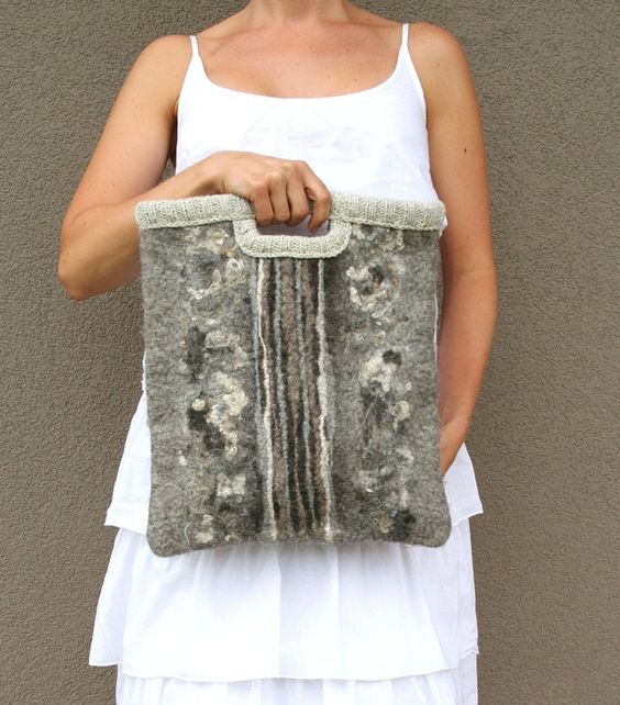 Felted wool bag Symphony gray - gift idea under 100 - great organizer - gift for music books - handmade. $96.00, via Etsy.