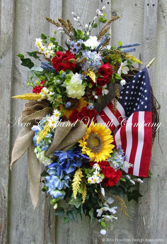 Patriotic Wreath, Americana Wreath, Fourth of July Wreath, Sunflower Wreath, Summer Wreath, Country Cottage, American Flag Wreath  Country