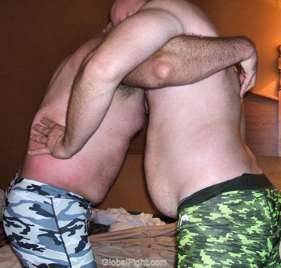 gay burly men fighting