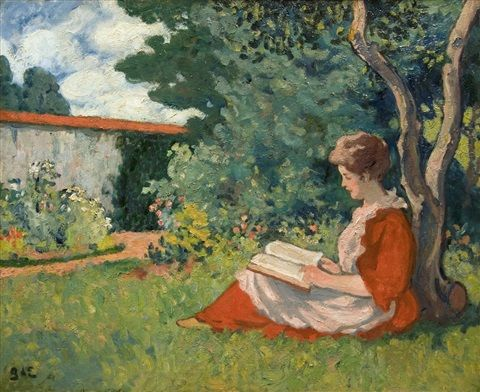 Woman Reading in a Garden by Georges d'Espagnat