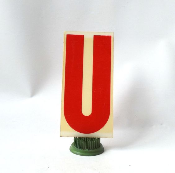 "vintage 1970's industrial marquee sign letter U type acrylic plastic red on white aged 6.5"" tall decorative home decor church typography old by RecycleBuyVintage on Etsy"