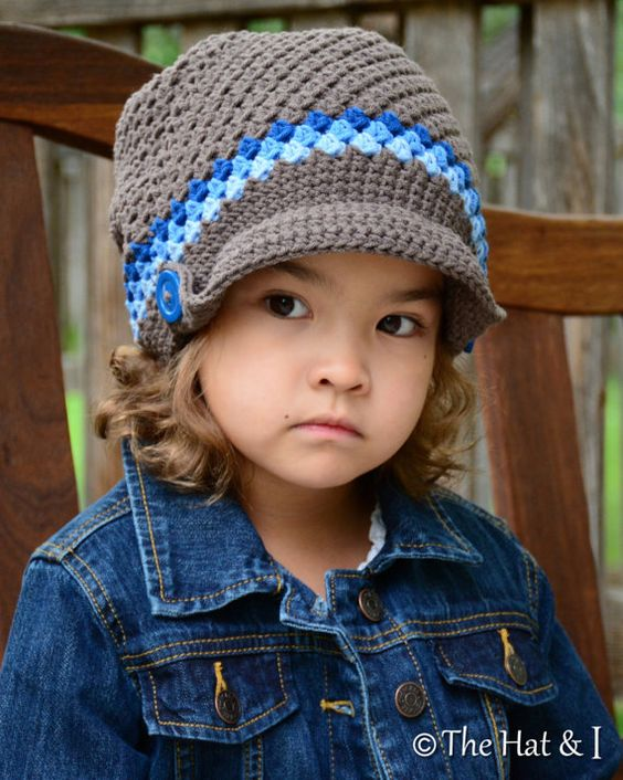CROCHET PATTERN - Newsboy Slouchy - a crochet slouchy hat pattern, hat with visor in 3 sizes (Toddler, Child, Adult) - Instant PDF Download