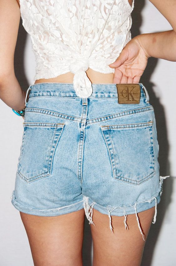 Vtg CK HIGH WAISTED denim cut off shorts rare by lechuzablanca, $40.00