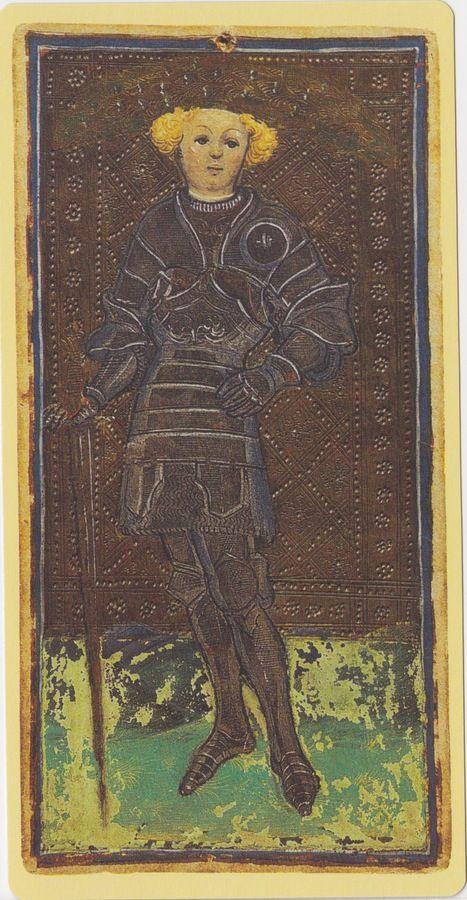 Page of Swords -- Pierpont Morgan Visconti Sforza Tarocchi Deck, Italy, Milan, ca. 1450: