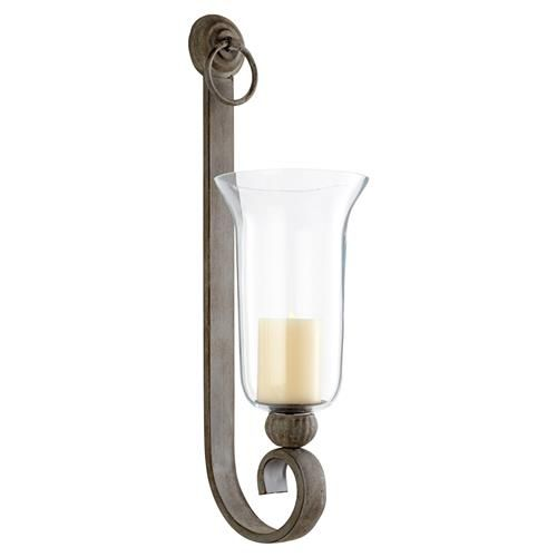 Davide French Country Oyster Silver Metal Wall Candleholder Wall Mounted Candle Holders Glass Wall Sconce Sconces