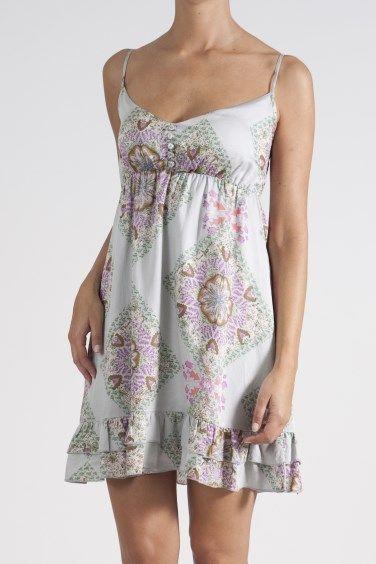 Tile print button dress