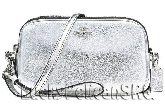 COACH 65547 Crossbody Clutch Messenger Bag Silver/Silver NWT #Coach #MessengerCrossBody