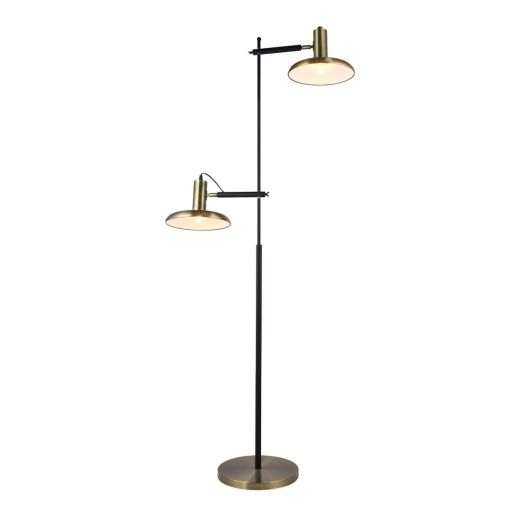 Nella Twin Head Metal Floor Lamp Black And Brass In 2020 Metal Floor Lamps Lamp Floor Lamp