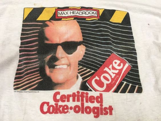 Vintage Max Headroom Coca Cola Certified Coke-ologist T-shirt Sneakers Destroyed