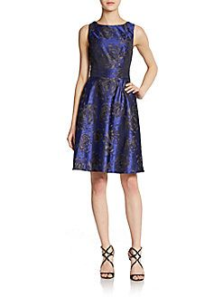 Floral Brocade Fit-And-Flare Dress