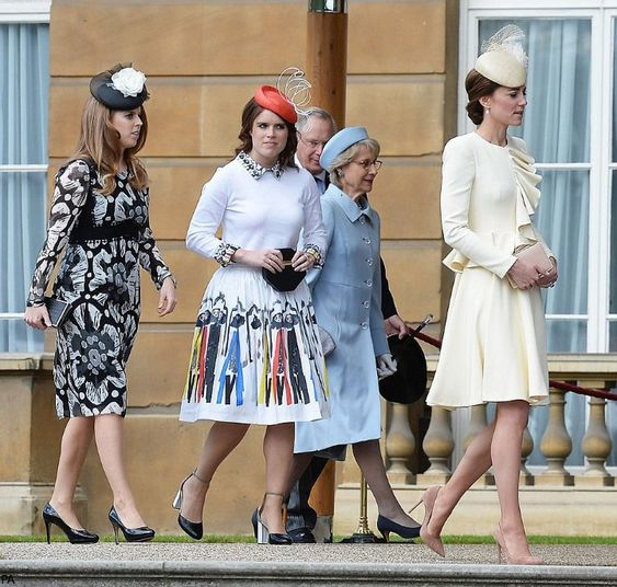 hrhduchesskate: Garden Party, Buckingham Palace, May 24, 2016-Princess Beatrice, Princess Eugenie, Duke and Duchess of Gloucester, Duchess of Cambridge: