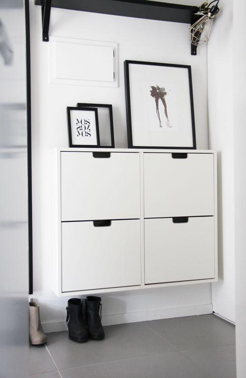Schuhschrank ikea ställ  White-Scandinavian design - suspended entryway | Ideas for THE ...
