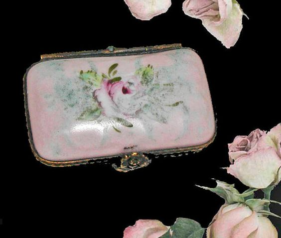 Hand Painted Limoges Porcelain Pill Box in Pink and by PruAtelier