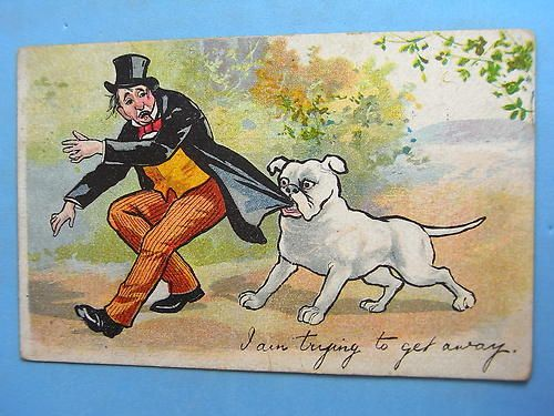 Vintage bulldog postcard - trying to get away