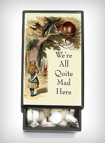 """""""We're All Quite Mad Here"""" Slide Box with Mints: Mints Plasticland, Pillbox Mints, Mad Wonderland, Gift Ideas, Alice In Wonderland, Mad Slide, Match Boxes, Mints Box"""