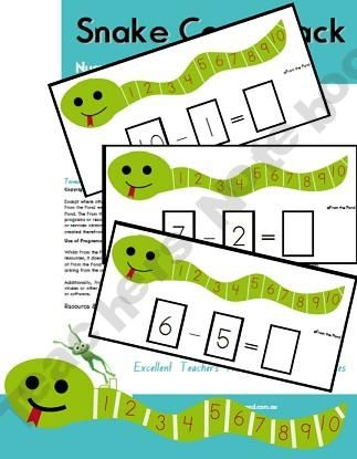 Snake Count Back (subtraction): Education Ideas Preschool, Subtraction Idea, Math Center, Good Ideas, Math Subtraction, Subtraction Snake, Math Ideas, Snake Subtraction, School Math