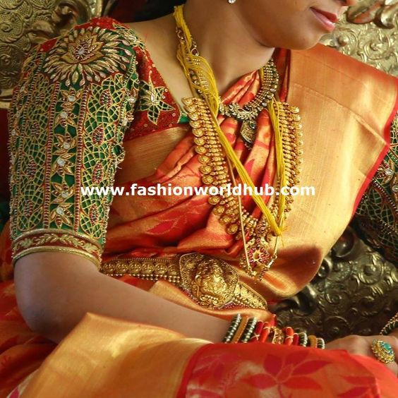 Maggam work is treated as one of the heavy and expensive work applied over the blouse and saris for ladies to avail.  You can also wear it with during your wedding occasion. The blouse …: