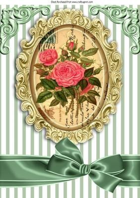 Pretty pink roses on a script with a bow A4 on Craftsuprint - Add To Basket!: