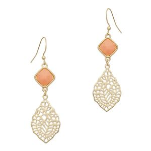 """Equal parts earthy and elegant, the Denise earrings might just become your go-to pair. Artfully crafted from a faceted coral and a filigree leaf drop, these will take you from the office to dinner with friends without missing a beat.  - Goldtone metal, resin  - 2"""" long  - Fish hook earwire   https://dyamondz.kitsylane.com/index.php?file=product_detail=2494"""