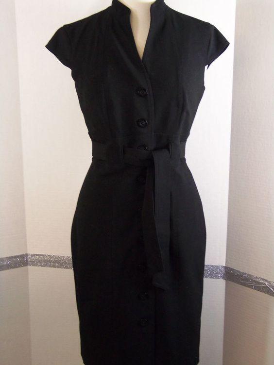 Calvin Klein Belted Sheath Black Dress, Polyester blend, Cap sleeve, Solid4 #CalvinKlein #Sheath #LittleBlackDress
