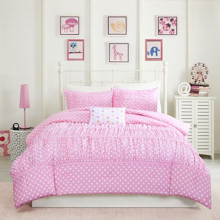 Elegant Ruched Pink Polka Dot Girls Bedding Twin Full/Queen XL Comforter Set with Pillow