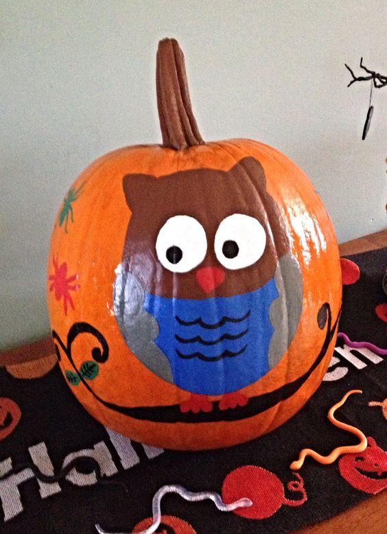 cute painted owl pumpkin halloween pinterest