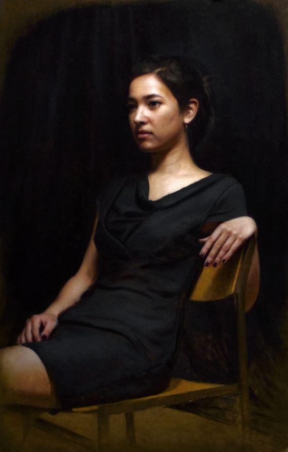 "Jos Van Riswick ""Portrait of Irene"" Oil on Canvas 20.1 x 31.5 inches"