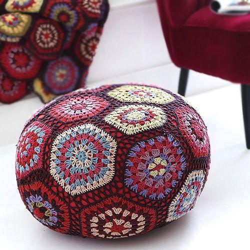 Boho revival crochet pouffe