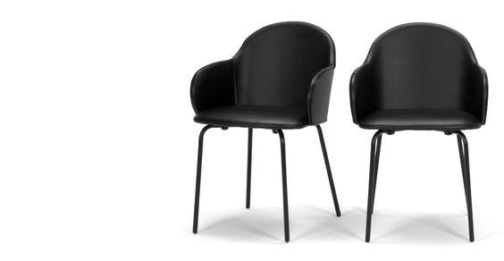 2 x Barbel Esszimmerstühle, Schwarz | made.com