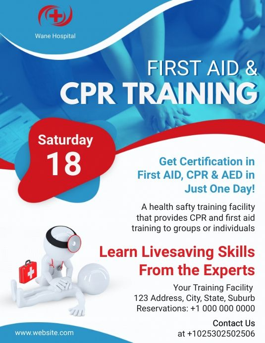 Blue Home Health Care Certification Flyer Health Home Health Care Cpr Training