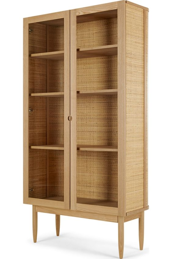Liana Glass Woven Cabinet Ash And Rattan Rattan Glass Cabinets Display Cabinet