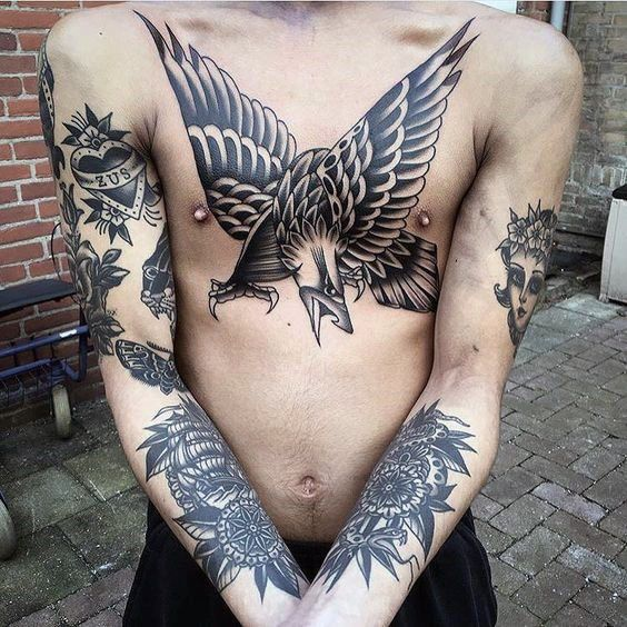 80 Eagle Chest Tattoo Designs For Men Manly Ink Ideas Chest Tattoo Men Eagle Chest Tattoo Traditional Chest Tattoo