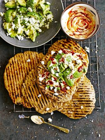 Quick Flatbreads with Avocado & Feta | Bread Recipes | Jamie Oliver