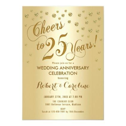 25th Wedding Anniversary Invitation In Gold Zazzle Com 25th