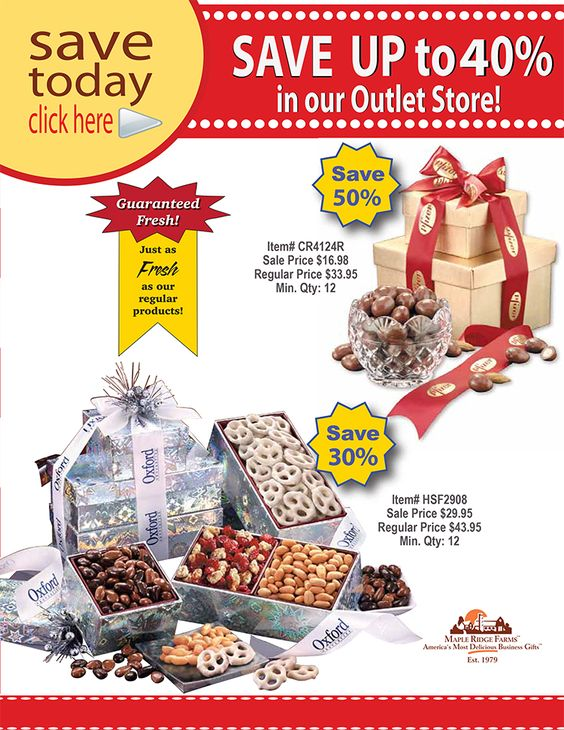 Save up to 40% on over 50 delicious gifts at our Outlet Store