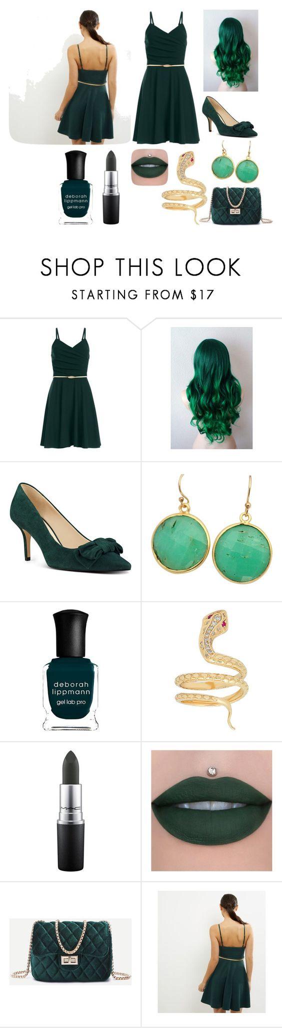 """Dark Green"" by madmaggie20 on Polyvore featuring moda, Nine West, Blue Candy Jewelry, Deborah Lippmann e MAC Cosmetics"