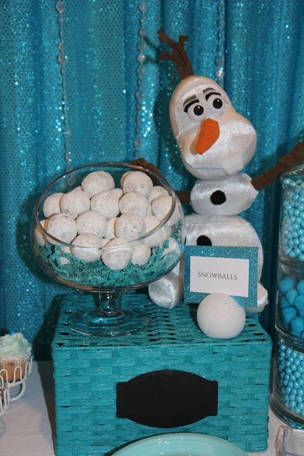 "Frozen Birthday Party ""snowball"" donuts! See more party ideas at CatchMyParty.com!"