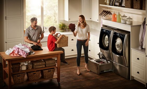Get the most out of your washer with the LG SideKick Washer Pedestal.   #Appliances #PedestalWasher #LaundryRoom #TWINWash #LGAppliances