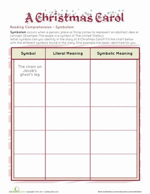 Printables Symbolism Worksheets comprehension worksheets and christmas on pinterest third grade a carol symbolism