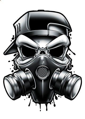 Black And Grey Gas Mask Temporary Tattoo Dengan Gambar Tato