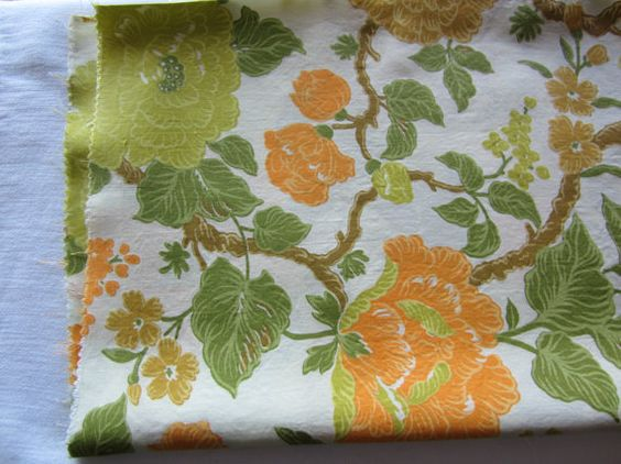 Retro Floral Fabric Shades of Green by FancyVintageFinds on Etsy, $9.00