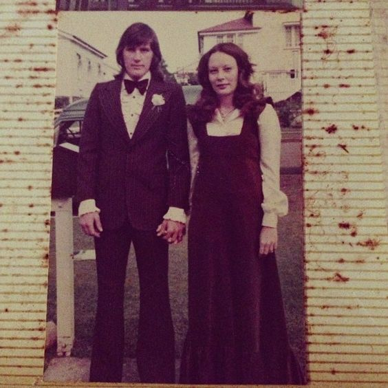 Mum and Dad going to a friends wedding 1970s. Mum made the dress, Brown Corduroy Maxi Dress, so cute! She taught me how sew