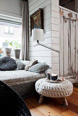 scandinavian home, love the knitted stool and cushion