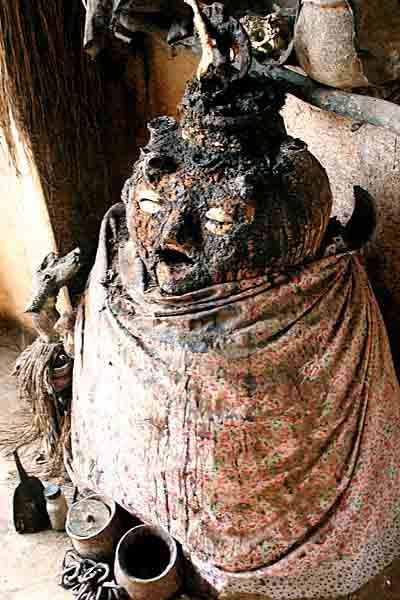 Alholu, god of the earth, in a voodoo temple in Togoville, Togo, Africa.