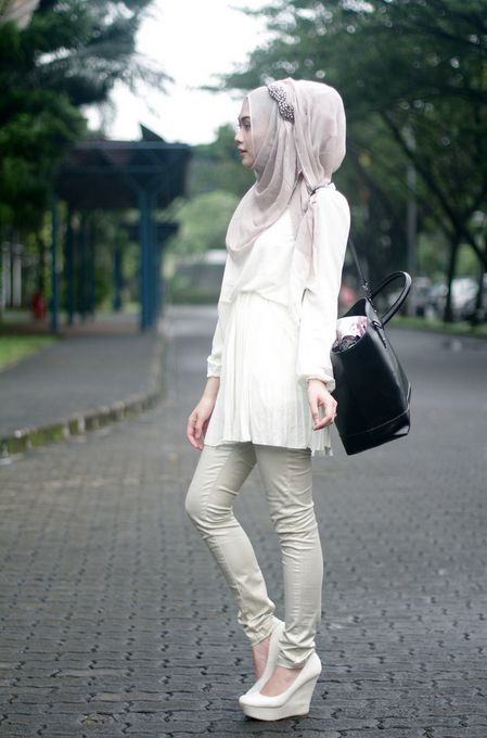 Hijabs White Wedges And Hijab Styles On Pinterest