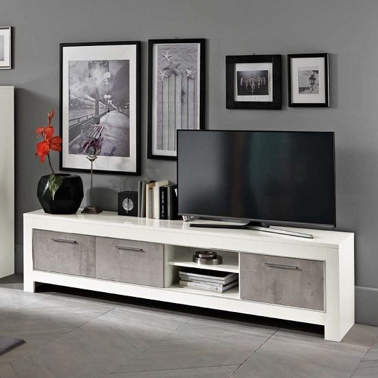Lorenz Large Tv Stand In Marble Effect And White High Gloss Furniture In Fashion Large Tv Stands High Gloss Furniture Large Tv