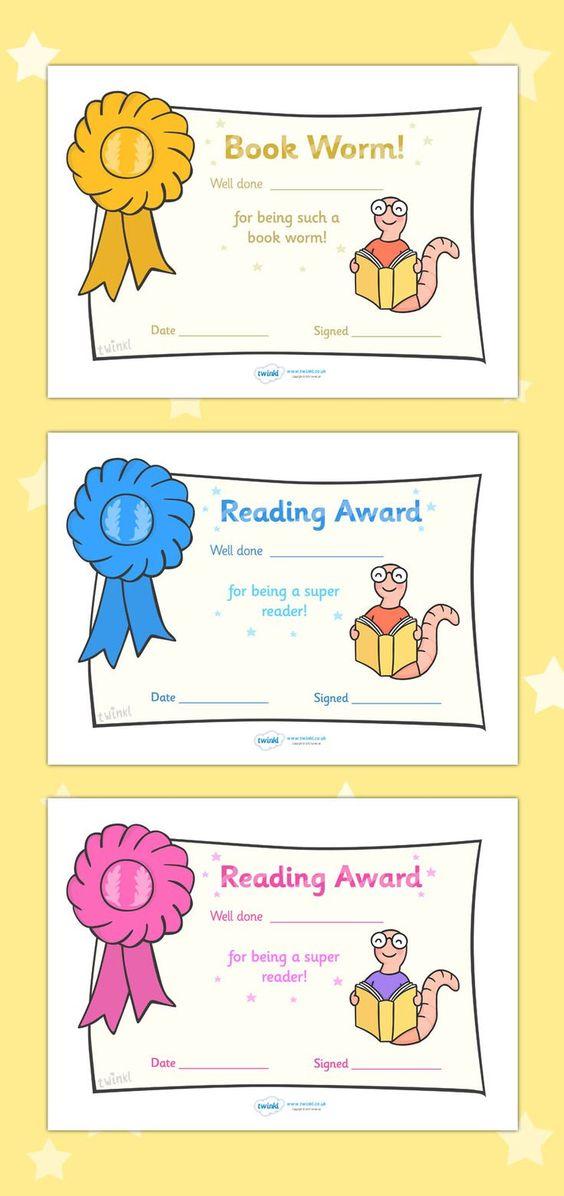 free printable editable reading award certificates