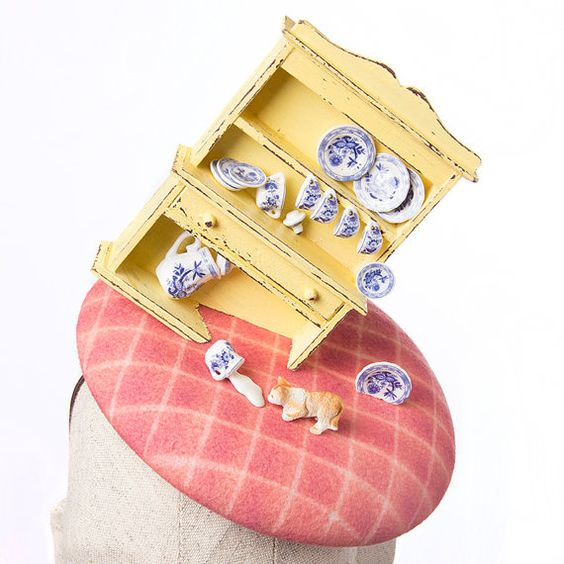 Miniatures Headpiece Pink Races Hat Yellow by MaorZabarHats