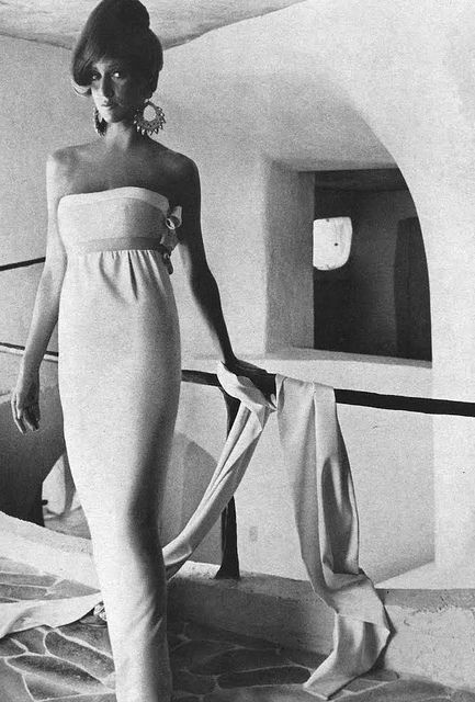 Willian Rose    Model is wearing a dress by Willian Rose and photographed by Henry Clarke.  Vogue,January 1966.